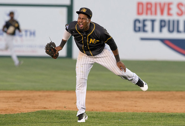 09/03/19 Wesley Bunnell | StaffrrThe New Britain Bees defeated the Somerset Patriots 7-6 in the bottom of the 8th on what was scheduled to be a 7 inning first game of a doubleheader. Rando Moreno (4) reacts to the safe call at second base.