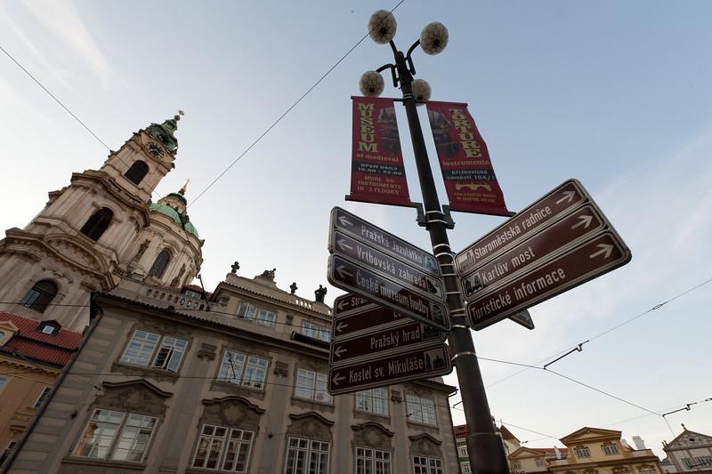 Street sign at a street corner in Prague, Czech Republic