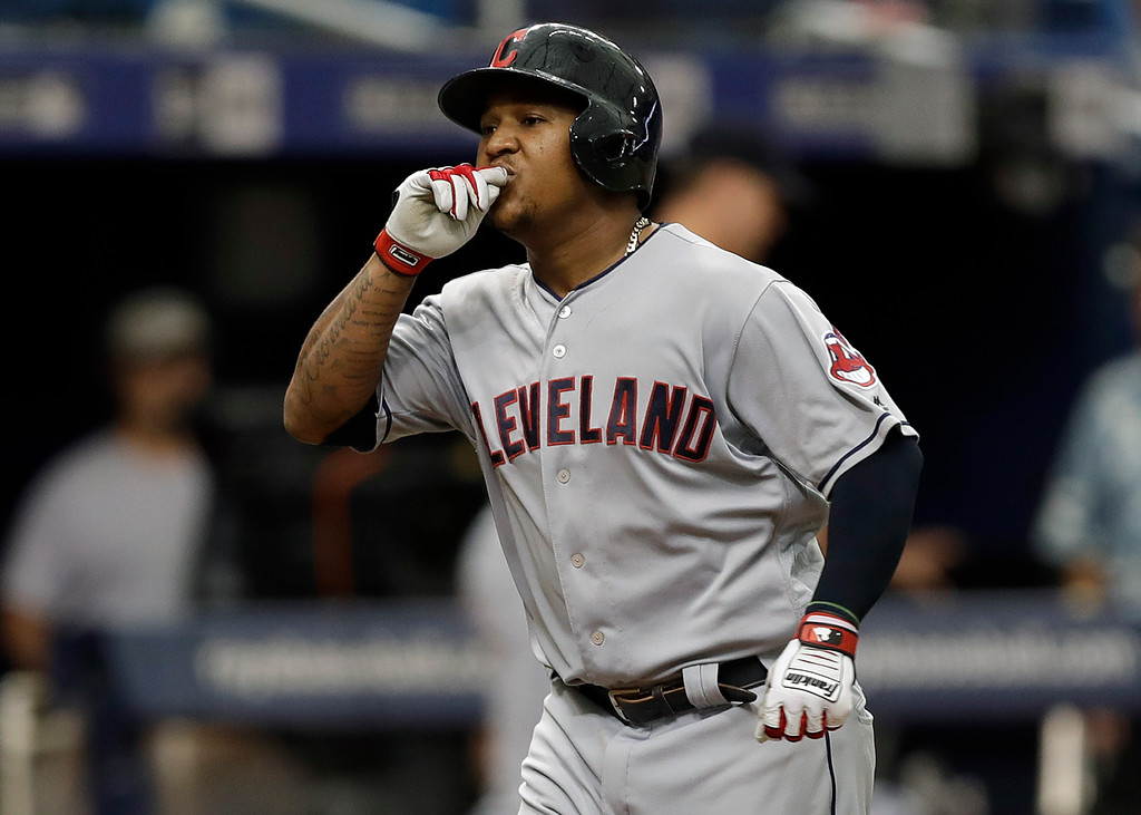 . Cleveland Indians\' Jose Ramirez reacts as he runs around the bases after his home run off Tampa Bay Rays starting pitcher Blake Snell during the seventh inning of a baseball game Wednesday, Sept. 12, 2018, in St. Petersburg, Fla. (AP Photo/Chris O\'Meara)