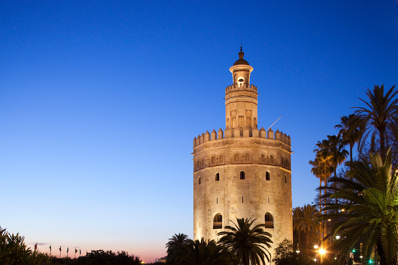 Torre del Oro at dusk