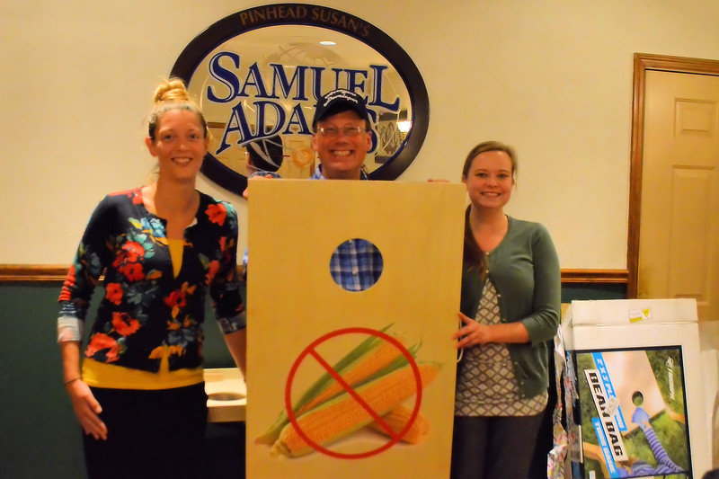 Mark with Sarah and Pamela - who put together and customized the Corn Hole Game.