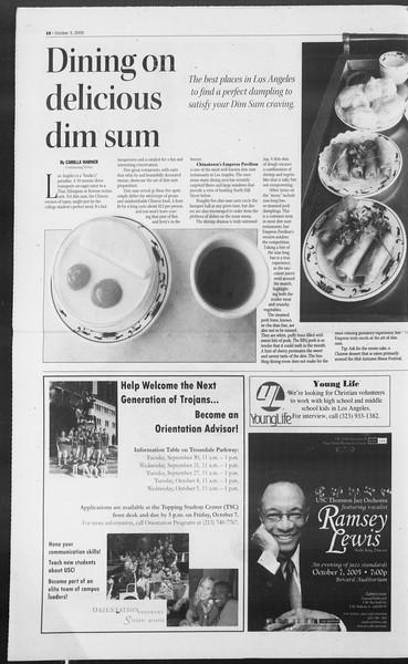 Daily Trojan, Vol. 156, No. 29, October 03, 2005