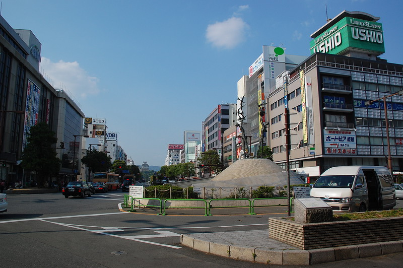 A view from the north entrance of Himeji Station