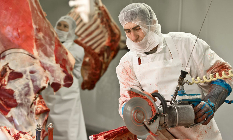 . Workers handle meat at the Doly-Com abattoir, one of the two units checked by Romanian authorities in the horse meat scandal, in the village of Roma, northern Romania, Tuesday, Feb. 12, 2013. On Monday, Romanian officials scrambled to defend two plants implicated in the scandal, saying the meat was properly declared and any fraud was committed elsewhere. (AP Photo/Vadim Ghirda)