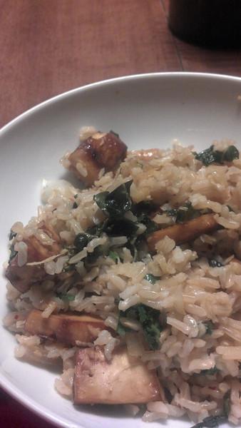Brown Rice Bowl with Lemongrass, Tofu, and Cashews. Plus Kale.