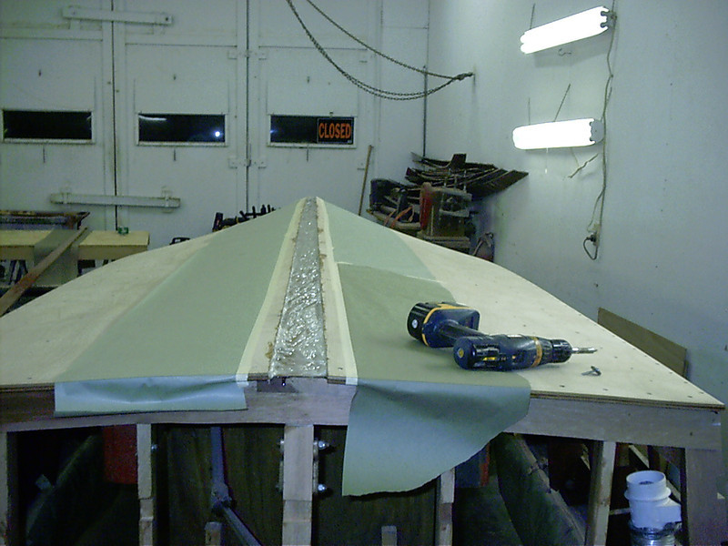 Glue applied for keel cap.
