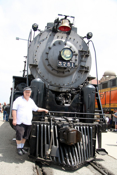 Bill standing on cow catcher of # 3751