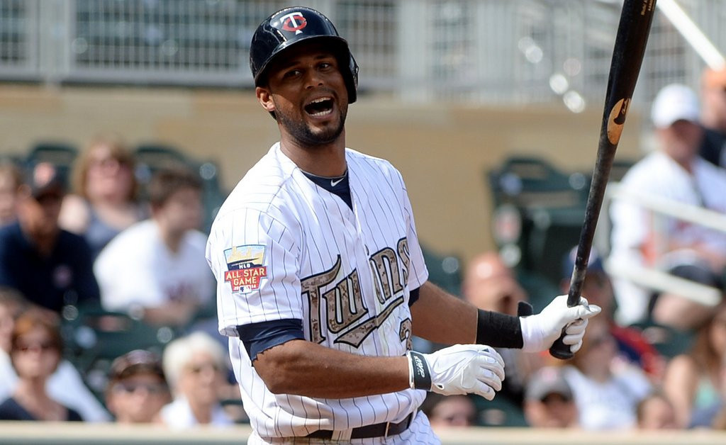 ". <p><b> Twins center fielder Aaron Hicks, with his batting average stuck below .200, announced that he would no longer bat this way � </b> <p> A. Left-handed <p> B. Right-handed <p> C. Blindfolded <p><b><a href=\' http://www.twincities.com/twins/ci_25838247/minnesota-twins-outfielder-aaron-hicks-ditches-switch-hitting\' target=""_blank\"">LINK</a></b> <p>   (Pioneer Press: John Autey)"
