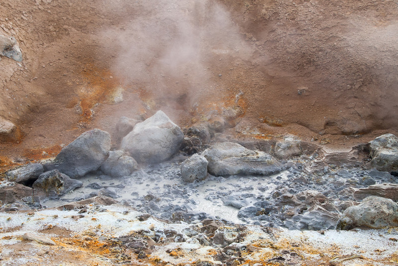 Sulphur mud pots fumaroles next to the crater