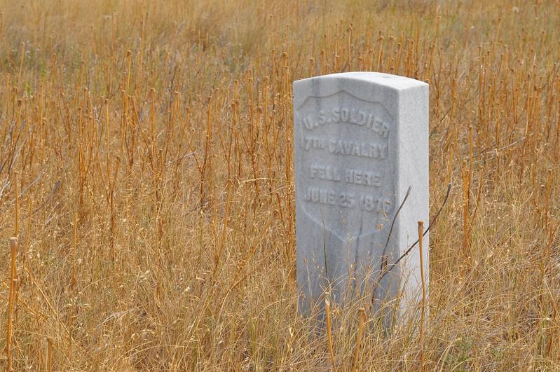 Marker at Little Bighorn Battlefield National Monument