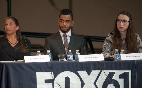 10/17/18 Wesley Bunnell | Staff CCSU along with Fox 61 hosted a 5th Congressional District Debate on Wednesday evening with Democratic candidate Jahana Hayes and Republican candidate Manny Santos who are both vying for the seat being vacated by Elizabeth Esty. Panel of questioners featured Professor Robbin Smith, students Christian Reyes and Kristina Vakhman.