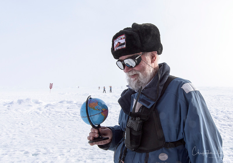 Bob Headland at North Pole with Globe.jpg
