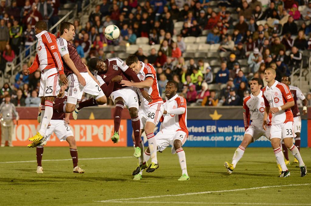 . COMMERCE CITY, CO. - MAY 04 : Nathan Sturgis #24, of Colorado Rapids, second from left, is aiming goal in the 2nd half of the game against Toronto FC at Dick\'s Sporting Goods Park in Commerce City, Colorado. May 4, 2013. Colorado won 1-0. (Photo By Hyoung Chang/The Denver Post)