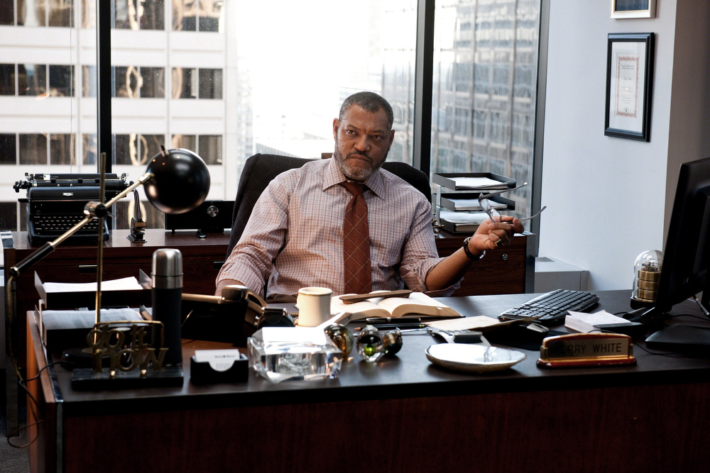 """. This film publicity image released by Warner Bros. Pictures shows Laurence Fishburne as Perry White in \""""Man of Steel.\"""" (AP Photo/Warner Bros. Pictures, Clay Enos)"""