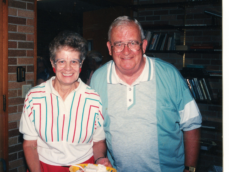 """Katherine """"Kay"""" E. (Seiter) Frawert (1934-2009), Paul Eugene Frawert b. 1927  Written in the Rogers Reunion Photo Album Volume III page 62 """"Paul and Kay Frawert July 8, 1997 at Josie Brinker's 100th birthday party""""."""