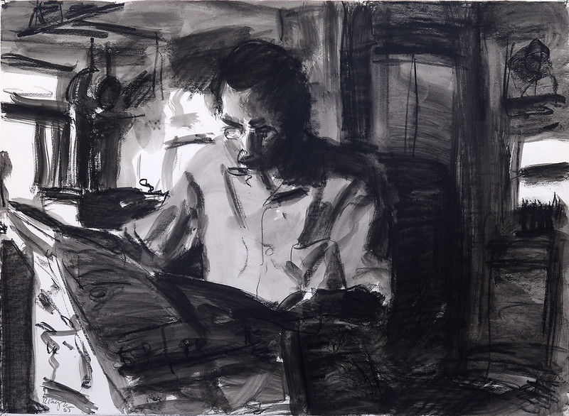 Reading man; charcoal on paper, 22 x 30 in, 1987