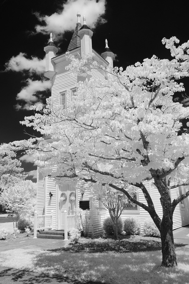 United Methodist Church, Trenton, NC. Infrared.