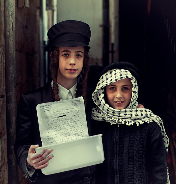 Jewish boys dressed up for the Purim celebrations.  Jerusalem, Israel, 2012.