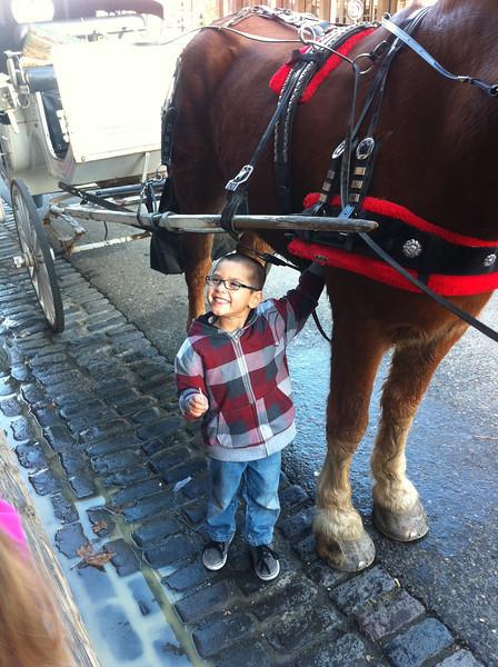 Teensy Frankie (5) with big, big horse