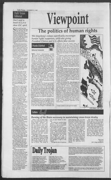 Daily Trojan, Vol. 132, No. 60, November 21, 1997