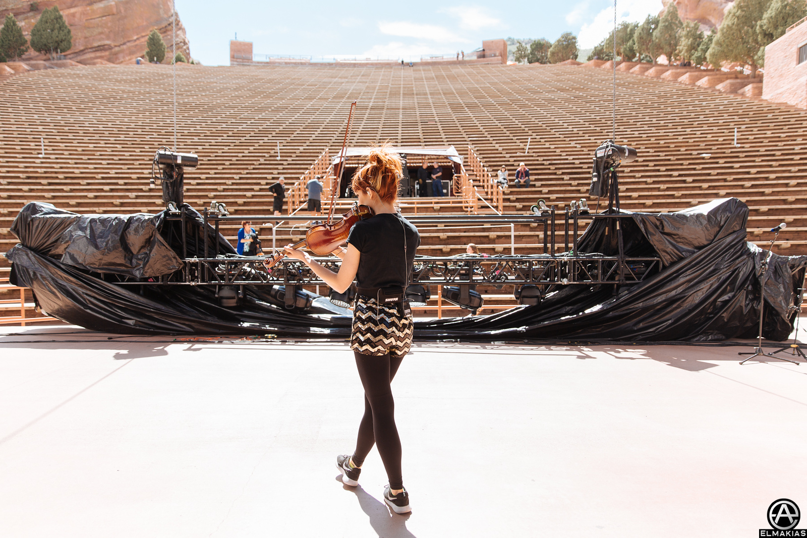 Lindsey Stirling soundcheck at the Red Rocks Amphitheater by Adam Elmakias
