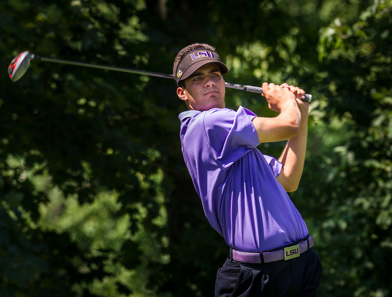 Curtis Thompson hits his tee ball on 16 during second round medal play at the 2012 Western Amateur Championship at Exmoor Country Club in Highland Park IL. on Wednesday, August 1, 2012. (WGA Photo/Charles Cherney)