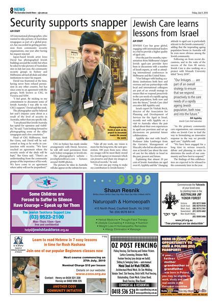 Australian Jewish News, July 9, 2010: Melbourne, Australia