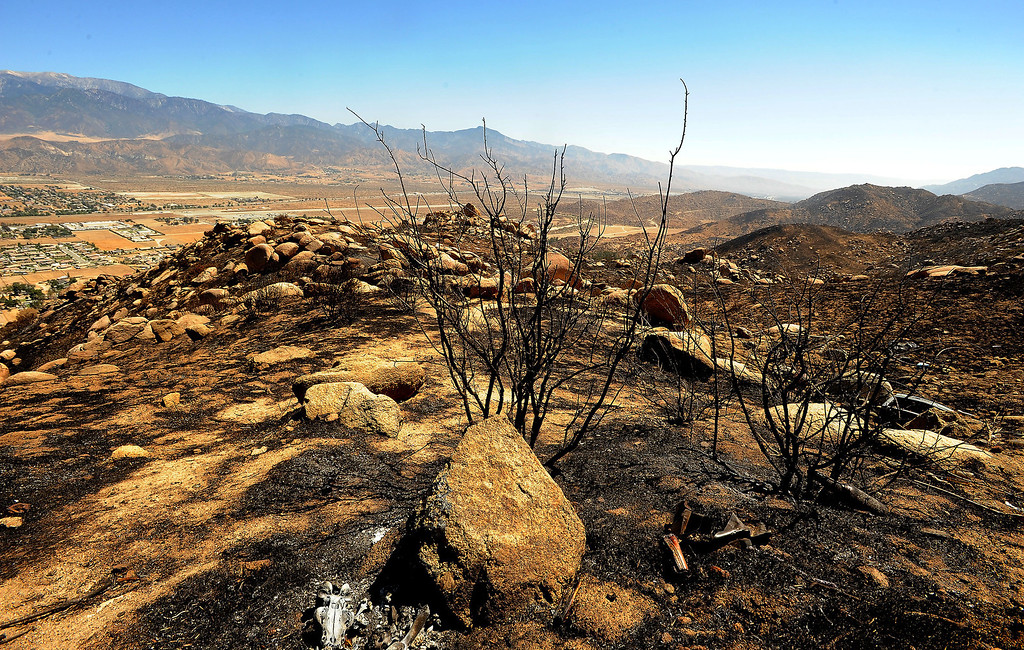 . A view of charred terrain caused by the Silver Fire as seen along Highway 243 in the mountains south of Banning August 10, 2013.  GABRIEL LUIS ACOSTA/STAFF PHOTOTGRAPHER.
