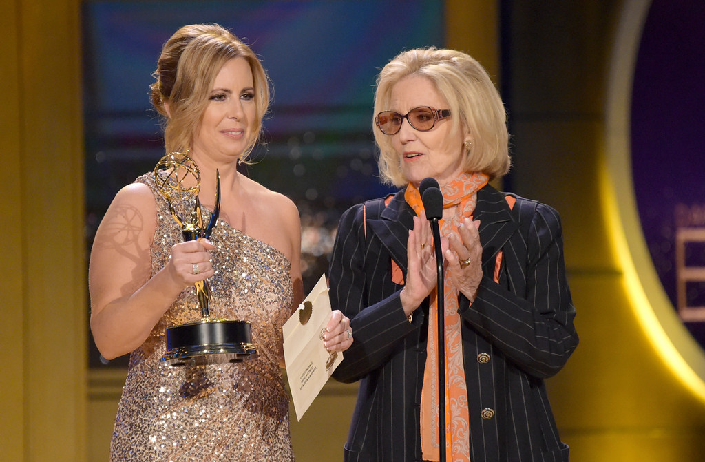 . Martha Byrne, left, and Elizabeth Hubbard present the award for outstanding lead actress in a drama series at the 45th annual Daytime Emmy Awards at the Pasadena Civic Center on Sunday, April 29, 2018, in Pasadena, Calif. (Photo by Richard Shotwell/Invision/AP)