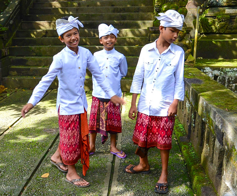 Boys in traditional sarong and head dress Udeng