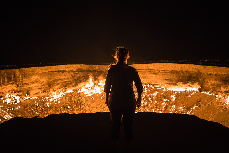 Lina Stock at the Darvaza Gas Crater in Turkmenistan