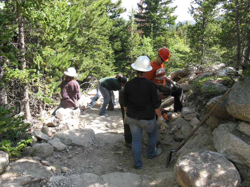Amazing young volunteers from Iowa spending a week on trail maintenance.