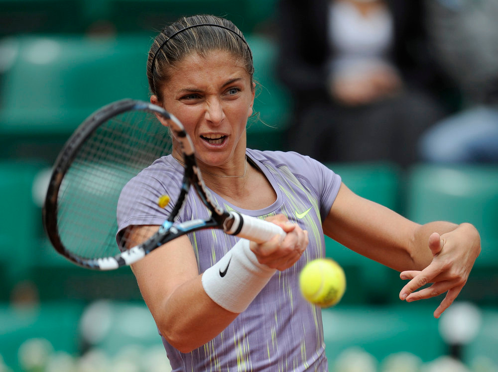 . Italy\'s Sara Errani returns to Netherland\'s Arantxa Rus during their French Tennis Open first round match at the Roland Garros stadium in Paris, on May 26,  2013. MARTIN BUREAU/AFP/Getty Images