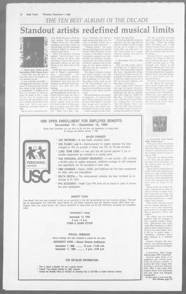 Daily Trojan, Vol. 110, No. 64, December 07, 1989