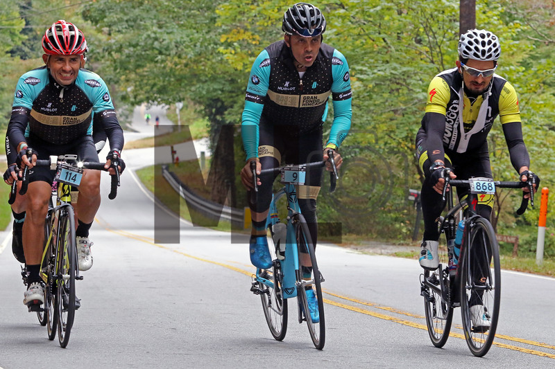 Carlos Saavedra-Ospina, Victor Hugo Pena and Juli Rodas ride at the Gran Fondo Hincapie Greenville in Saluda, N.C., on October 19, 2019
