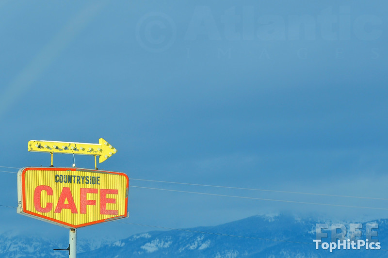 Countryside Cafe Sign Near St Ignatius in Montana, USA