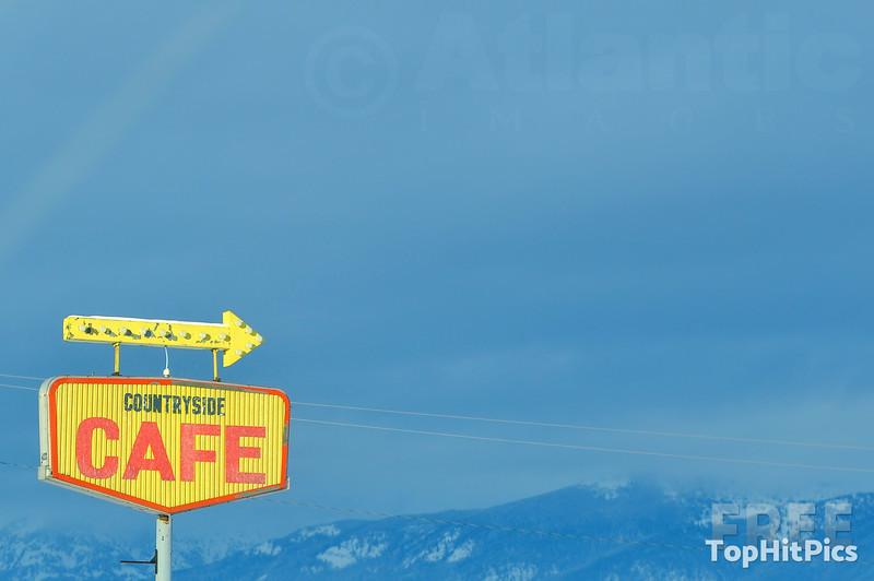 Countryside Cafe Sign Near St Ignatius in Montana, USA