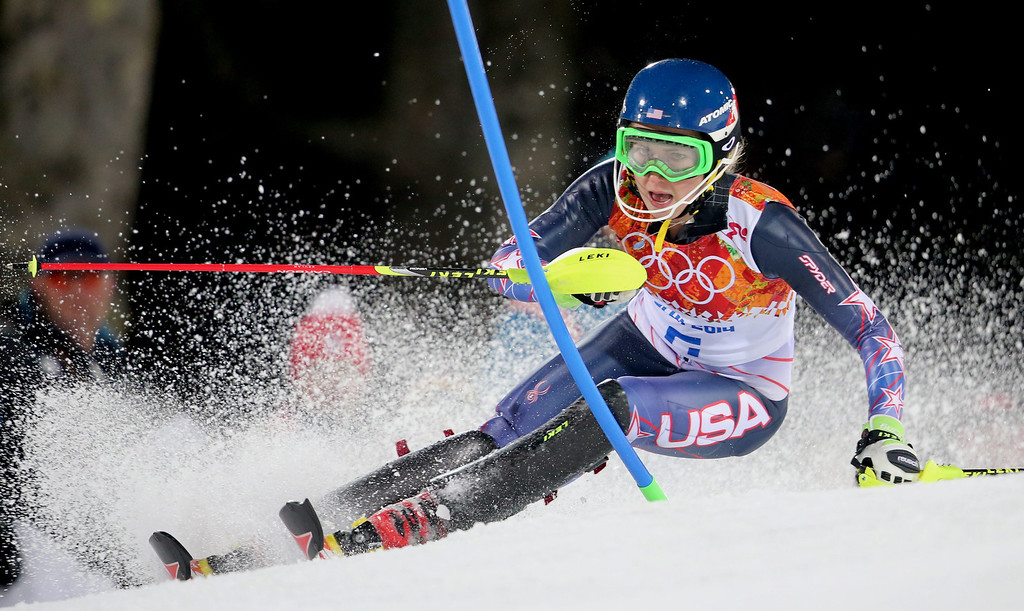 . Mikaela Shiffrin of the USA in action  during the second run of the Women\'s Slalom race at the Rosa Khutor Alpine Center during the Sochi 2014 Olympic Games, Krasnaya Polyana, Russia, 21 February 2014.  EPA/KARL-JOSEF HILDENBRAND