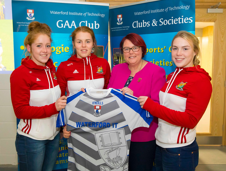 WIT holds event to honour 2016 All Ireland medal winning students. Pictured are President of the Camogie Association Catherine Neary with Mairead O'Shea, Michelle Nolan and Niamh O'Loughlin of the Carlow Junior Camogie team. Picture: Patrick Browne  Waterford Institute of Technology's presence and influence across Gaelic Games at a national level in 2016 has been very noticeable. In total there are 32 past and present WIT students on the respective playing panels that won All Ireland medals in 2016 and a further 4 members on the backroom management teams.   To honour this huge achievement, WIT GAA Club is paying tribute to these 36 past members on securing these prestigious national titles on Monday 3 October, 6.30pm at the WIT Arena.   Along with the players, the prestigious cups, including the All Ireland Senior Hurling Cup- Liam McCarthy, the All Ireland Senior Camogie Cup- O'Duffy, The All Ireland Minor Cup and the All Ireland Under 21 Hurling Cup- James Nowlan, will be on show on the night.