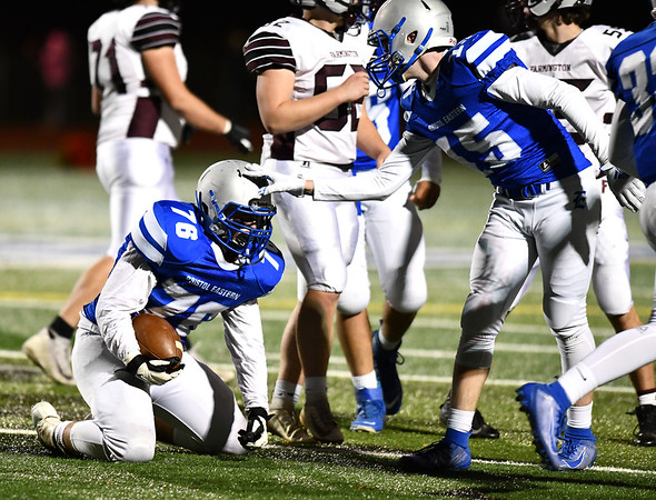 11/1/2019 Mike Orazzi | StaffrBristol Eastern's Jake Dauphinee (76) against Farmington during Friday night football in Bristol.