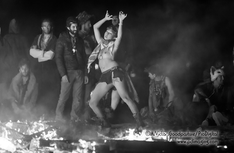 With the fire still burning, burners approach in costume and various stages of undress to celebrate and party —and in some cases meditate and dance.