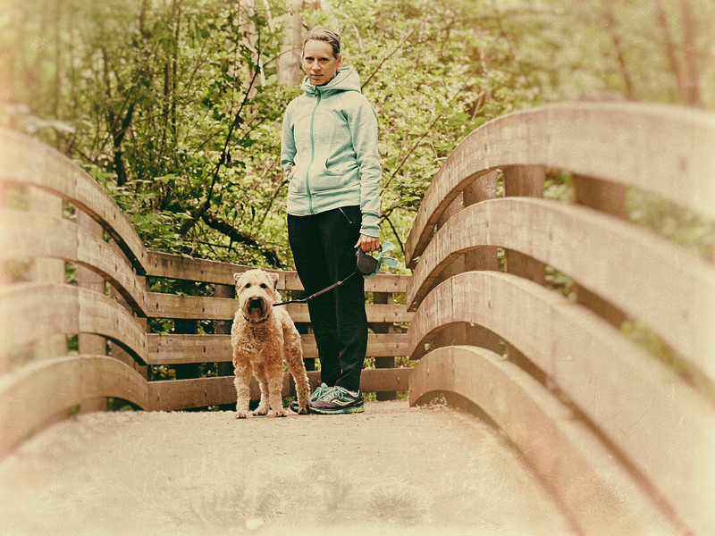 Michele and Olive in Kelsey Creek Park, May 17, 2014