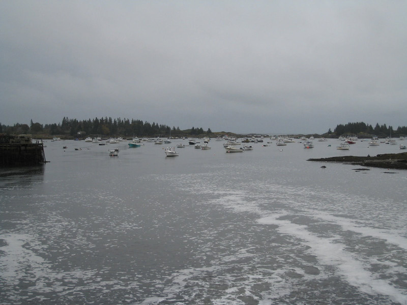 A view from our balcony of lobster boats in the bay - Vinalhaven. Maine - A pretty cold and dreary day!