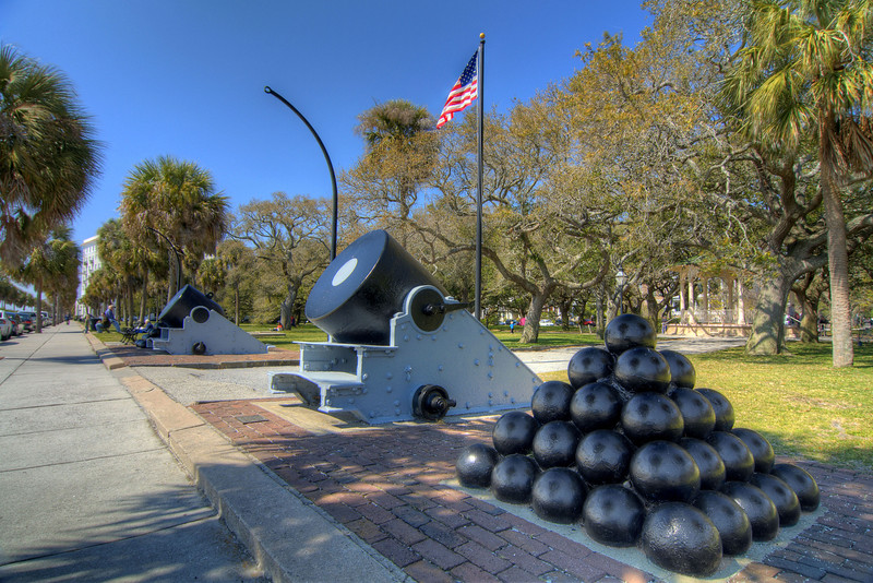 A pair of mortar guns and stacks of canons straddle either side of a walkway in White Point Gardens in The Battery in downtown Charleston, SC on Saturday, March 9, 2013. Copyright 2013 Jason Barnette