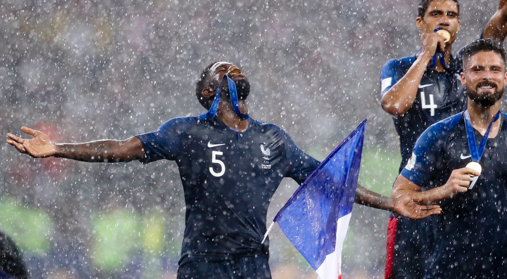 . France\'s Samuel Umtiti celebrates at the end of the final match between France and Croatia at the 2018 soccer World Cup in the Luzhniki Stadium in Moscow, Russia, Sunday, July 15, 2018. France won 4-2. (AP Photo/Petr David Josek)
