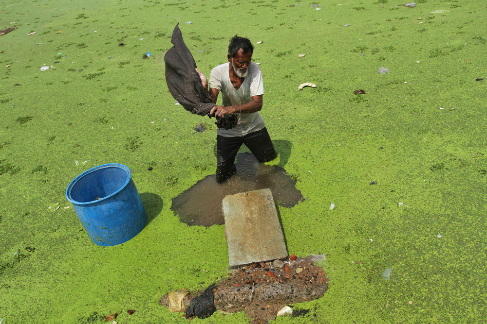 . An Indian washerman cleans clothes in the polluted Sabarmati River on World Environment Day, in Ahmadabad, India, Wednesday, June 5, 2013. World Environment Day is celebrated every year by the United Nations to stimulate global awareness on environmental issues.  (AP Photo/Ajit Solanki)