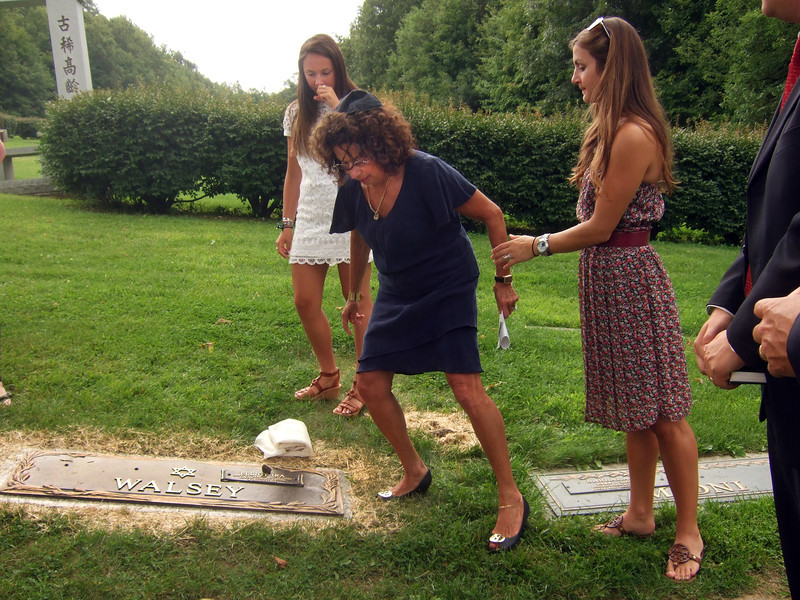 Elliot Walsey gravestone unveiling -  Gabriela Lynne Hyman, left; Joan (Somerstein) Walsey, center; Alexandra Solomon, right