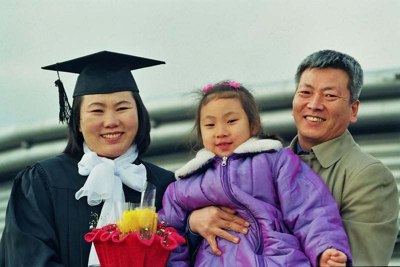 2000 February Hwa Ja, Jay Joon and Minji, Graduation Seoul.jpg