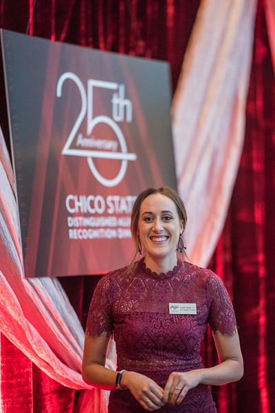 Kaitlin Tillett attends the Distinguished Alumni dinner on Friday, March 9, 2018 in Chico, Calif.  (Jason Halley/University Photographer/CSU Chico)
