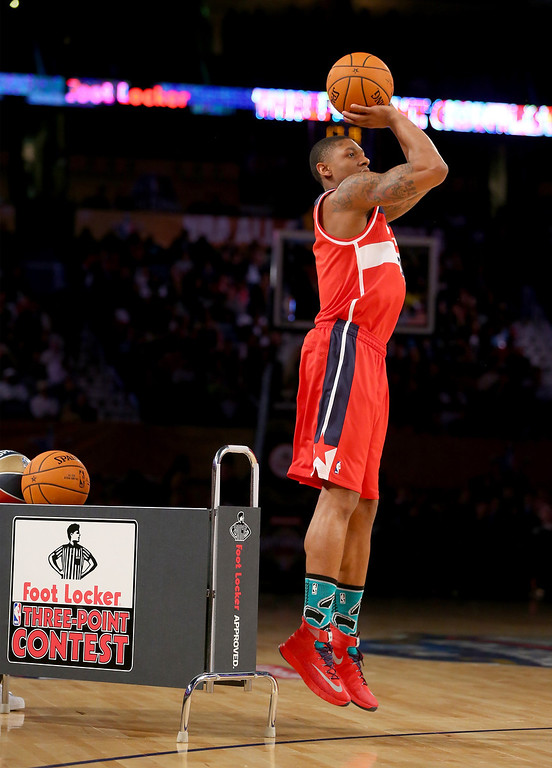 . NEW ORLEANS, LA - FEBRUARY 15:  Eastern Conference All-Star Bradley Beal #3 of the Washington Wizards competes in the Foot Locker Three-Point Contest 2014 as part of the 2014 NBA All-Star Weekend at the Smoothie King Center on February 15, 2014 in New Orleans, Louisiana. (Photo by Ronald Martinez/Getty Images)